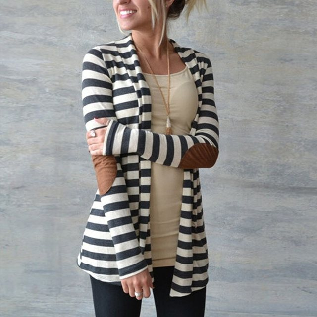 ZANZEA Fashion 2018 Autumn Outerwear Women Long Sleeve Striped Printed Cardigan Casual Elbow Patchwork Knitted Sweater Plus Size