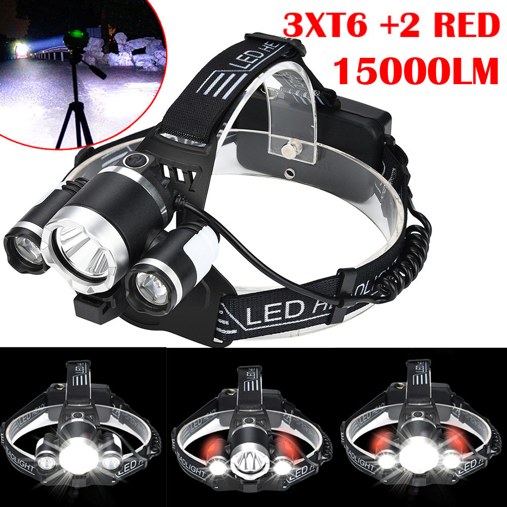 COB USB Rechargeable 18650 Headlamp Head Light Torch Kits RD 15000LM 2x T6 LED