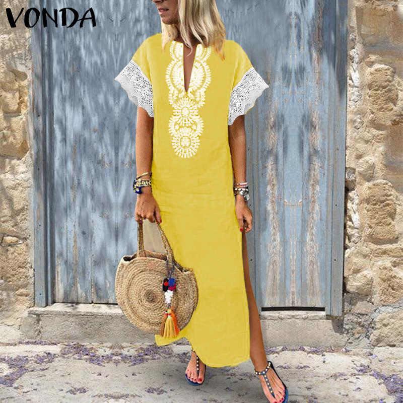 Женское длинное кружевное платье VONDA, летнее пляжное платье в стиле пэчворк с коротким рукавом и v-образным вырезом, модель 2020