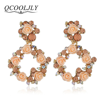 QCOOLJLY Crystal Rose Flower Wreath Drop Earrings Trendy Women Dangle Earrings Wedding Statement Jewelry Accessories Bijoux