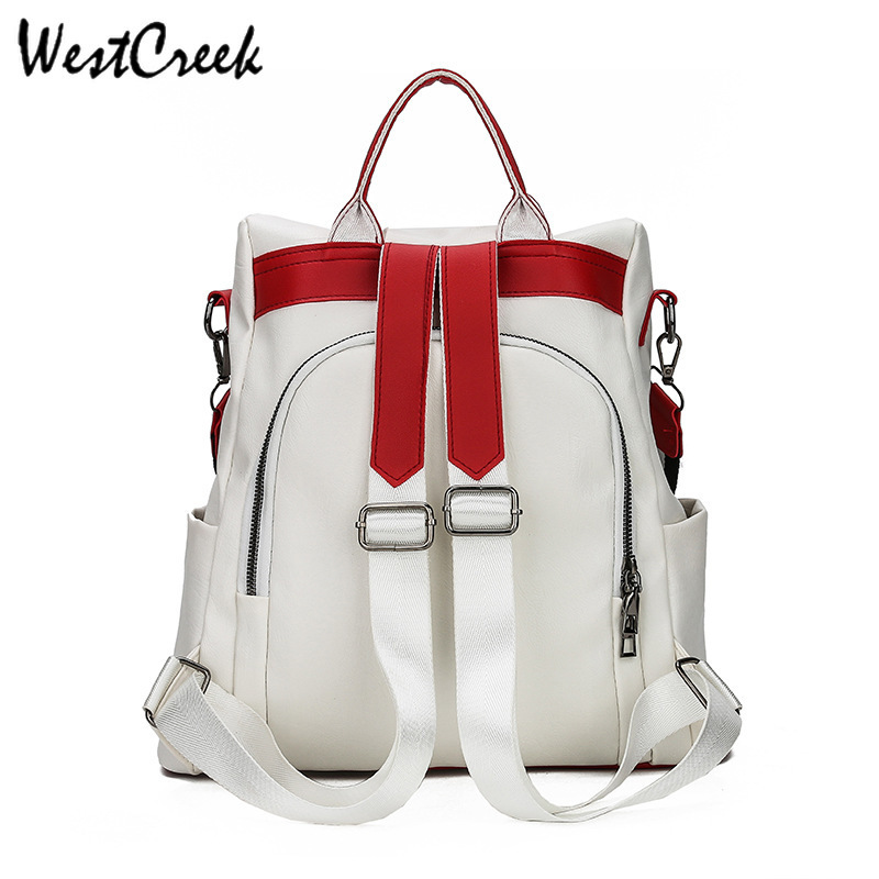 WESTCREEK Brand Anti Theft Women Backpack Purse Soft Leather Waterproof Multi function Travel Back Pack Hit Color Casual Bag in Backpacks from Luggage Bags