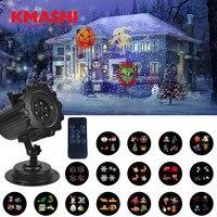 Kmashi Red Blue Laser 16 Replaceable Slides Projector Light Outdoor Garden Laser Light Projector Christmas Decoration