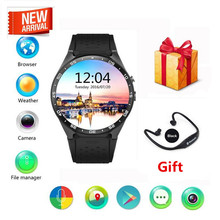 Kingwear kw88 smart watch 1.39 polegada mtk6580 quad core 1.3 ghz android 5.1 3g smart watch 400 mah 2.0 mega pixel freqüência cardíaca monito