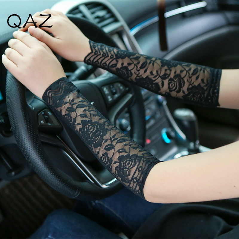 QAZ Women Fashion Summer Lace Arm Sleeves Tattoo Scar Cover Uv Arm Cover Sun Protection Driving Arm Sleeve Cuff Elbow W186