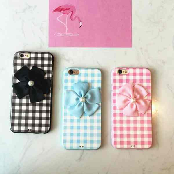 2016 Hot Fashion Grid Line Bowknot mobile phone cases For iPhone 6 6Plus 6s 6sPlus Elegant