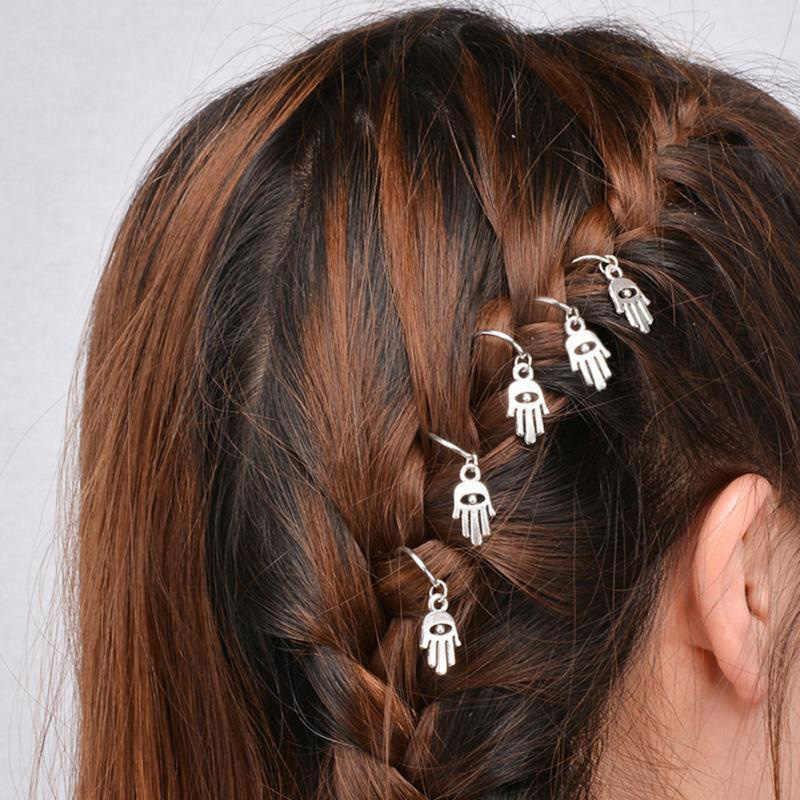 ขายร้อน 5 ชิ้น/ถุง Twist braid เครื่องประดับผมสำหรับผู้หญิง Charming วงกลม Hoop บุคลิกภาพ braid DIY จี้อุปกรณ์เสริมผม