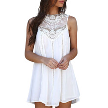 font b Simplee b font white lace dress 2019 women Hollow out streetwear casual