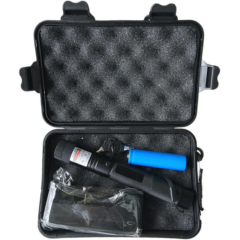 High Power Laser Flashlight 532nm Pointer Burning Match Laser Pen With Safe Key Green Red Laser + 18650 Battery+charger +Box