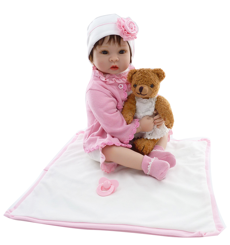 Newborn silicone reborn babies doll Soft Toys bear handmade girl watching the real baby lifelike baby