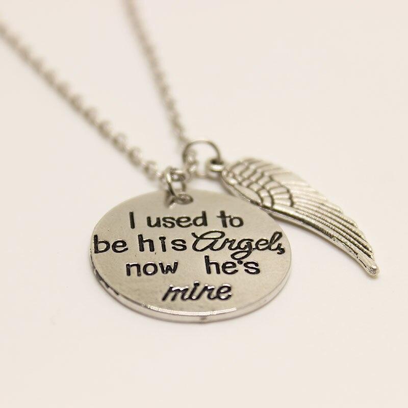Раньше я его Ангел теперь он мой Цепочки и ожерелья памятный подарок Ангел-хранитель крыла старинное серебро ручной печатью цепочки и ожере...