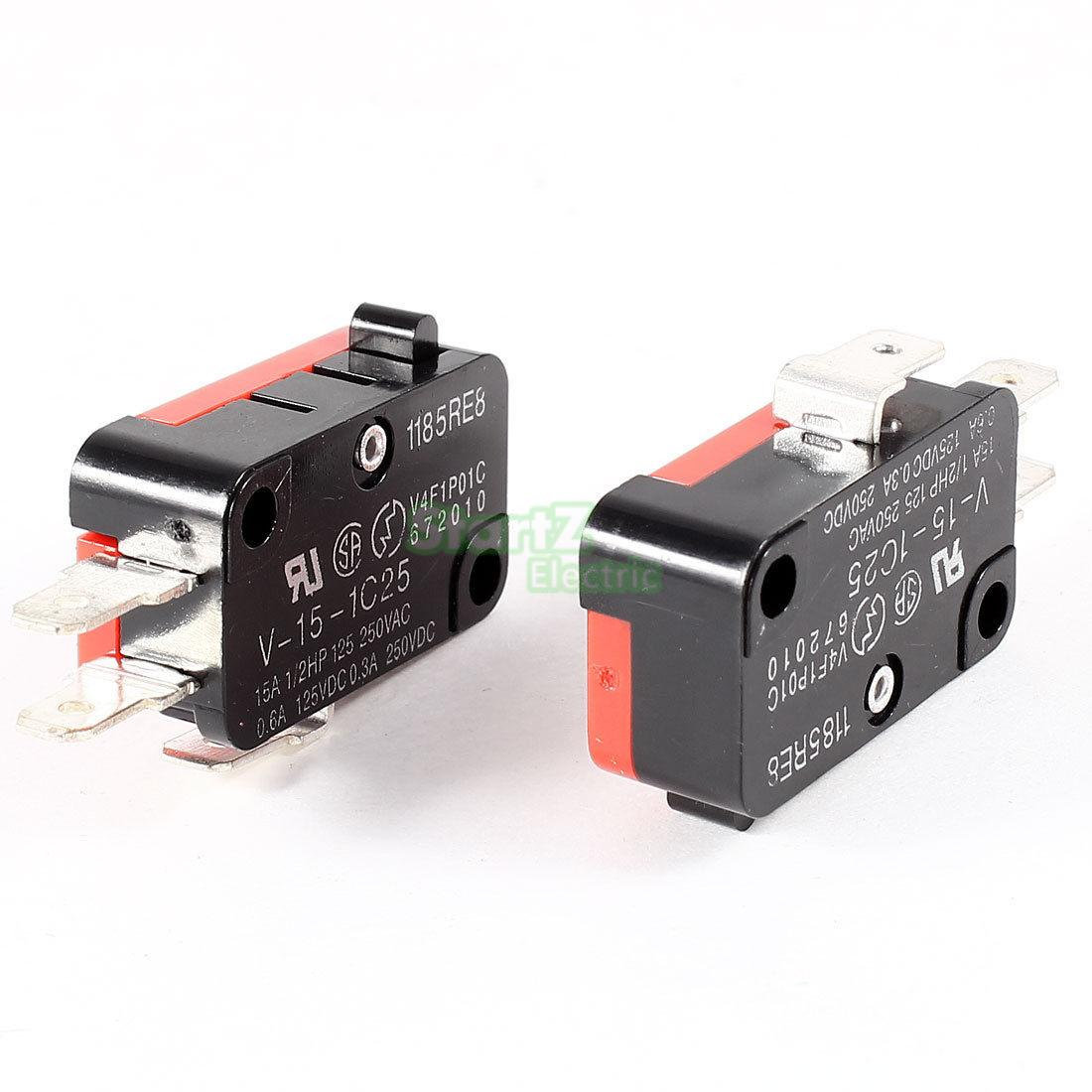 15A 250VAC V-15-1C25 Push Button SPDT 1NO 1NC Micro Switch 10Pcs limit switches plug in side plunger std 1nc 1no spdt