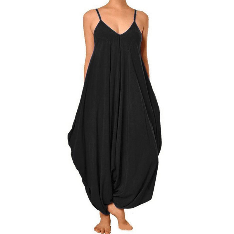 f700a7c29c76 Women Jumpsuit Solid Girl V Neck Loose Baggy Fit Summer Beach Party  Jumpsuit Romper Harem Suits Tracksuit For Women-in Jumpsuits from Women s  Clothing on ...