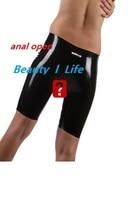 Nieuwe Latex fetish mooie shorts broek met anale open Bermuda liefde gemakkelijk terug view