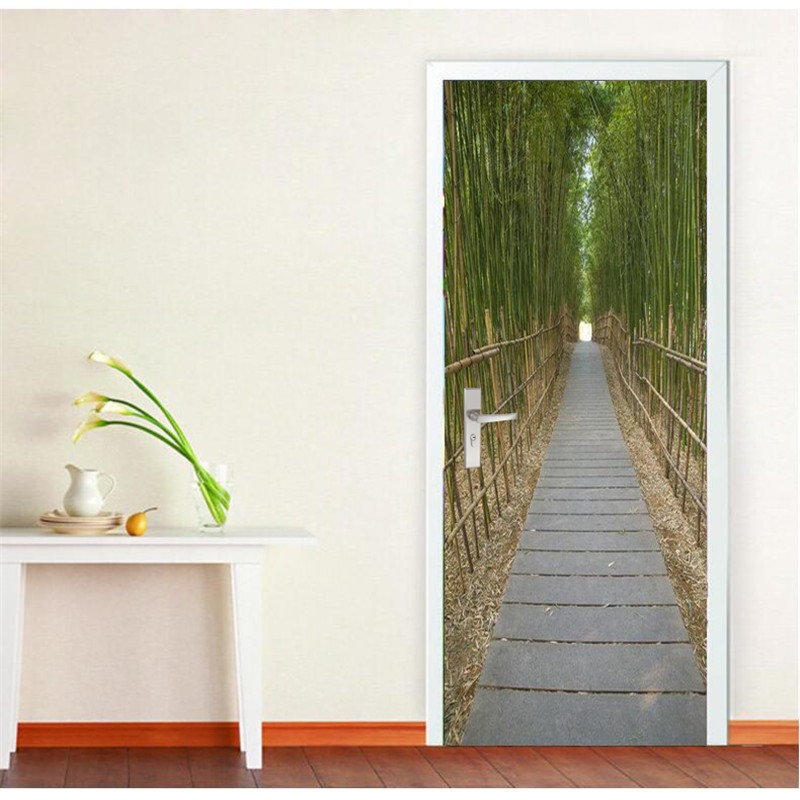 Self adhesive wall painting door wallpaper bamboo channel for Bamboo mural wallpaper
