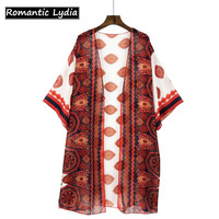 Women Casual Chiffon Kimono Cardigan Ladies Beach Print Long Kimonos Preto Loose Floral Printed Blouse Tops