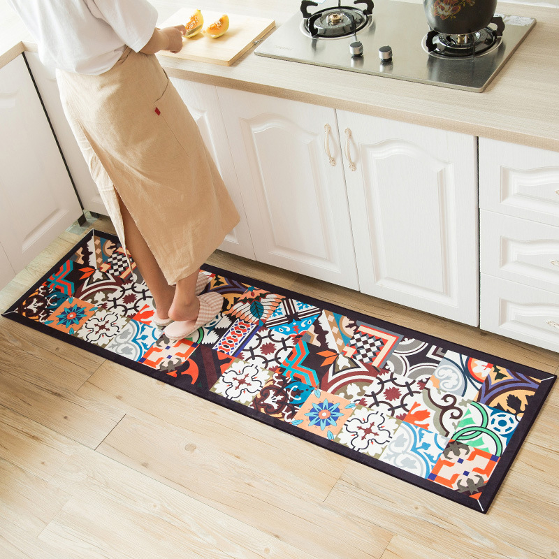 Ethnic Printed Kitchen Mat Set Dirty-proof Long Carpet Hallway Doormat Bedside Floor Mat Non-slip Water Absorption Bathroom Rugs image