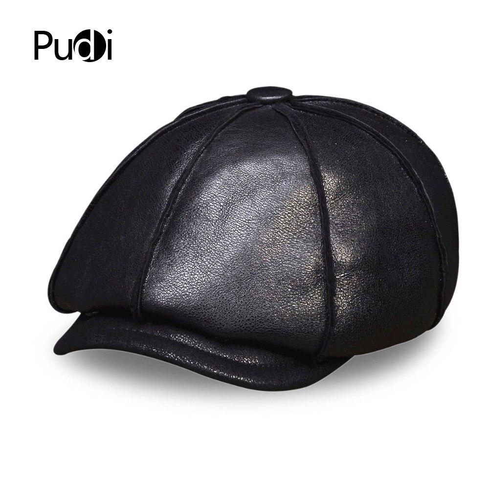HL112 Hommes de cuir véritable casquette de baseball chapeau d'hiver chaud Russe un fourrure béret Ceinture Gatsby chasse casquettes chapeaux avec de la vraie fourrure à l'intérieur