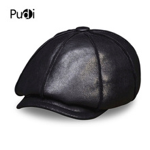 HL112 Men's real leather baseball cap hat winter warm Russian genuine leather one fur caps hats with Faux fur inside цена