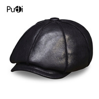 HL112 Men S Real Leather Baseball Cap Hat Winter Warm Russian Genuine Leather One Fur Caps