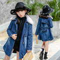 2016 new winter Girls Kids Thick cowboy fur collar hooded long cotton coat  comfortable cute baby Clothes Children Clothing 15W