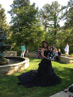 Fashion Sweetheart A Line Ruched Pleat Black Gothic Wedding Dress 2017 Long Tiered Plus SIze Bridal