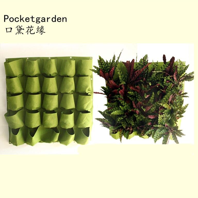25 poches extérieur intérieur Vertical jardin planteur suspendus mur Pots de fleurs plantation sacs planteur de semis cultiver des sacs de conteneur A