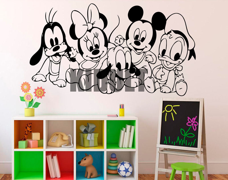 Mickey Mouse Cartoon Wall Stickers Vinyl Wall Decals Family Home