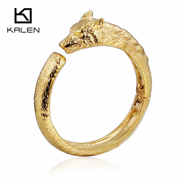 Kalen novo legal lobo cabeça charme pulseira de aço inoxidável 316 dubai Banhado A ouro Animal Lobo Pulseiras Para Homens Hip Hop Barato Presente