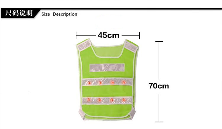 Safety Vest 16 led FLASHING RED LEDS LED GREEN ANSI Reflective Stripes