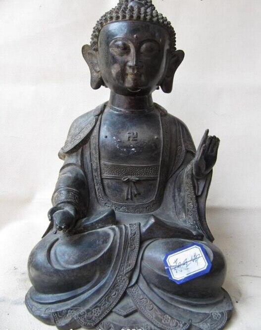 USPS To USA S1113 11 Tibet Buddhism Fane Copper Bronze Carve Dispenser God Buddha Sculpture Statue (B0328)