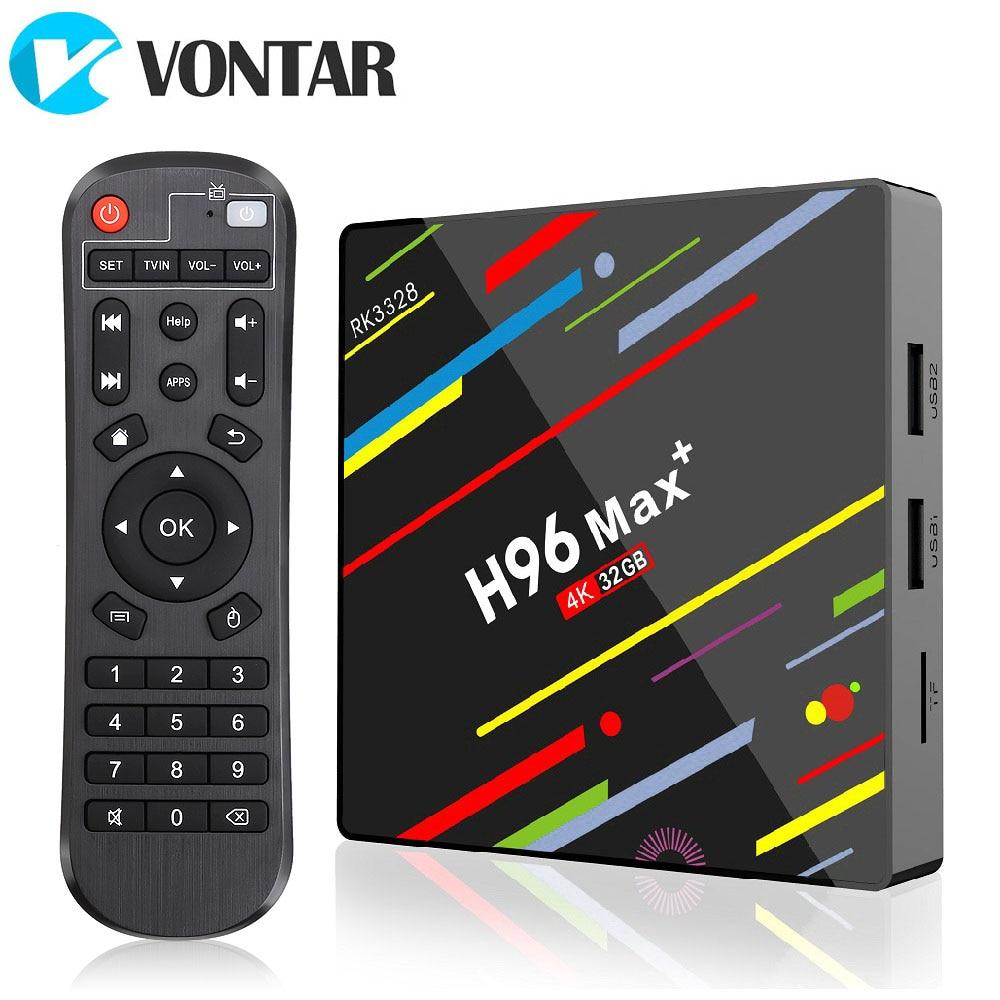 MAX Plus Caixa Smart TV Android 8.1 VONTAR H96 4 k Rockchip RK3328 4 gb gb gb USB3.0 64 32 h.265 GooglePlay Media player