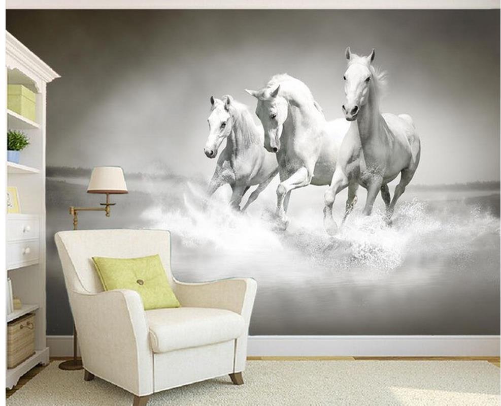 Individuelle fototapeten 3d mural 3d wallpaper dekorative malerei weiße  pferderennen wohnzimmer 3d wallpaper(China (