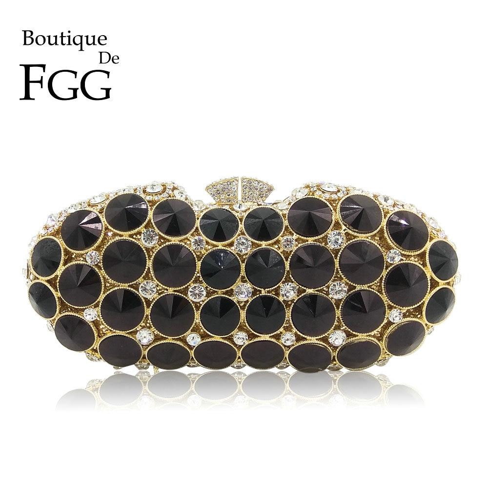 Boutique De FGG Elegant สีดำ Jet เพชร Clutches กระเป๋าแฟชั่นผู้หญิงงานแต่งงานกระเป๋าถือเจ้าสาวคริสตัลคลัทช์-ใน กระเป๋าหูหิ้วด้านบน จาก สัมภาระและกระเป๋า บน   1