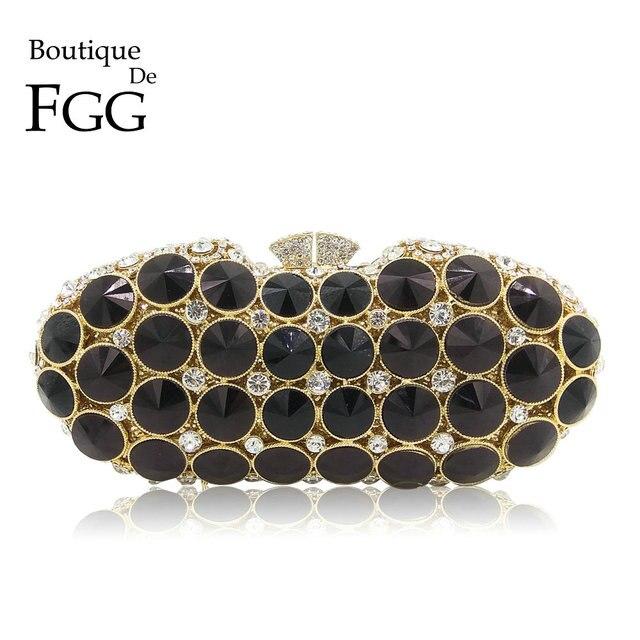 Boutique De FGG Elegante Preto Jet Diamante Embreagens Noite Saco de Moda Feminina Bolsa De Festa de Casamento Da Bolsa Da Embreagem De Cristal de Noiva