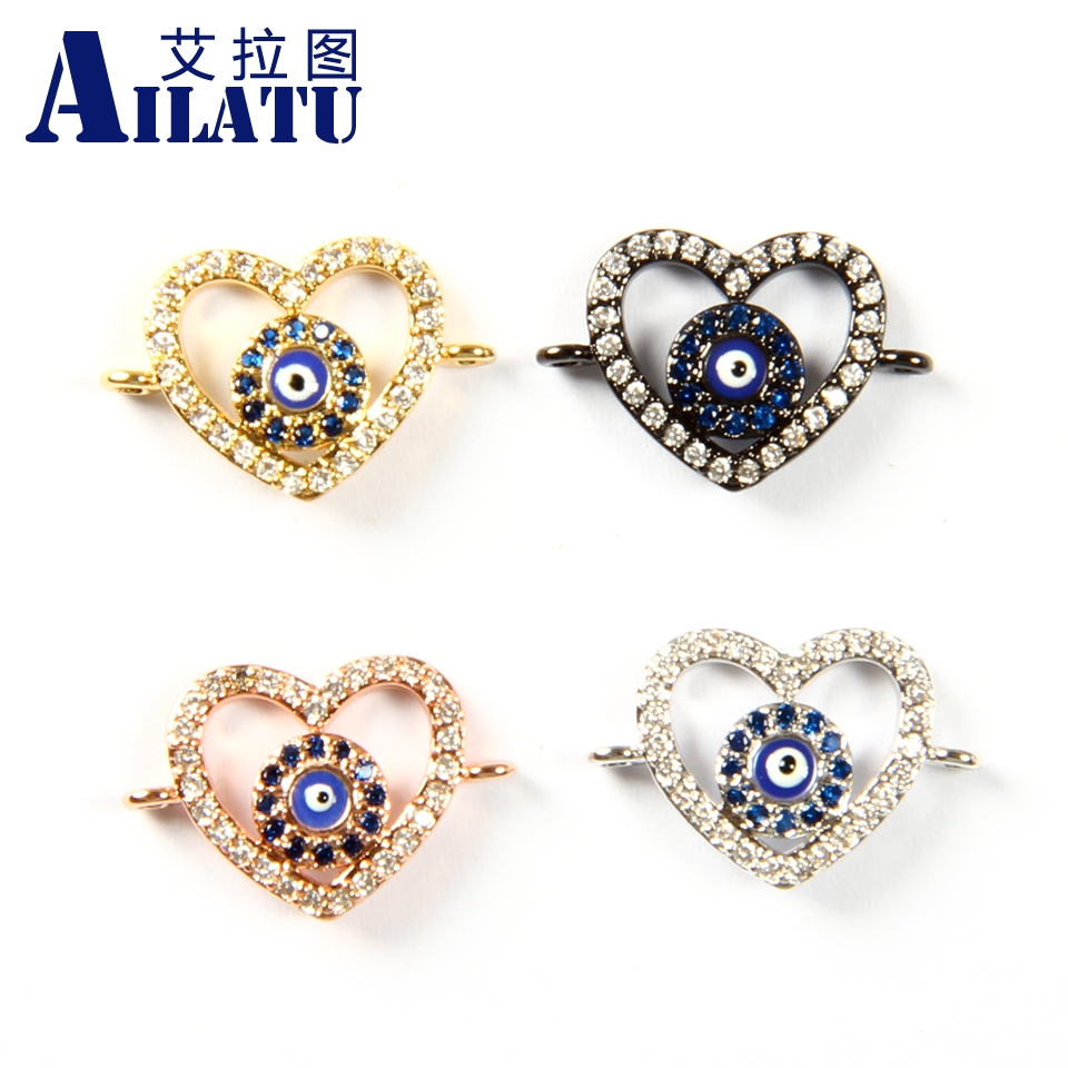 Ailatu Free Shipping 10pcs/lot Heart Charms made of Clear and Bule Cz Decorated for DIY Women Fashion Bracelets
