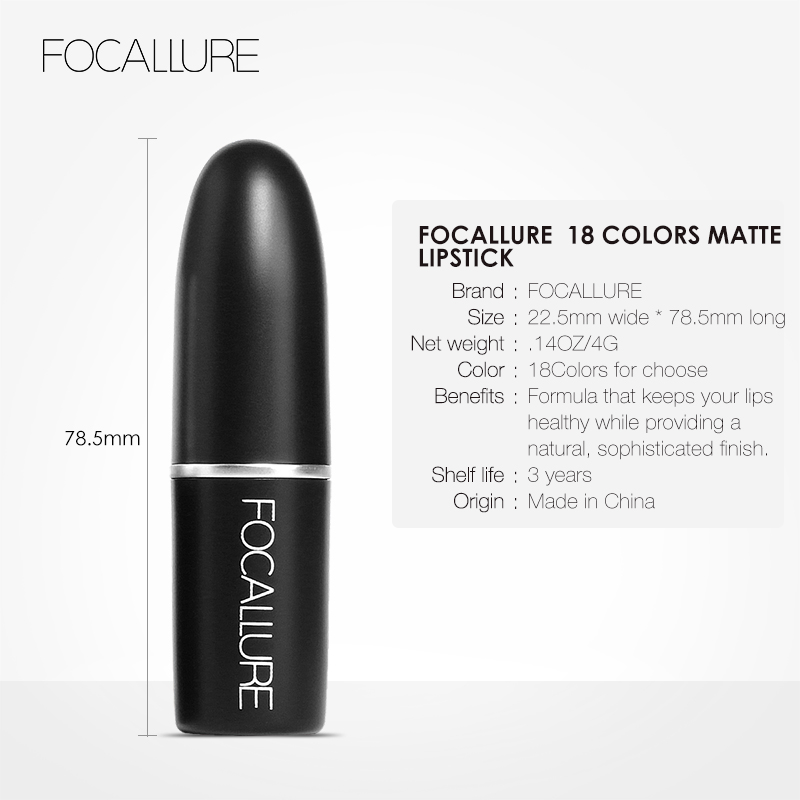 Beauty Essentials Focallure 18 Colors Matte Lipstick Set Professional Makeup Waterproof Baby Lip Balm Nude Lipgloss Lip Stick Cosmetic