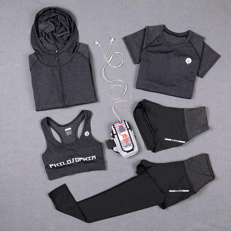 חדש נשים יוגה חליפת 5 חתיכה יוגה סטי 3 חתיכה מוצק צבע יוגה חולצה כושר אימונית ריצה יוגה מכנסיים ספורט חזיית ספורט