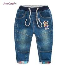 Spring Toddler Trousers Baby Boys Jeans Children Cartoon Denim Long Pants Elastic Belt Waist Fashion Jeans Clothes Size For Kids