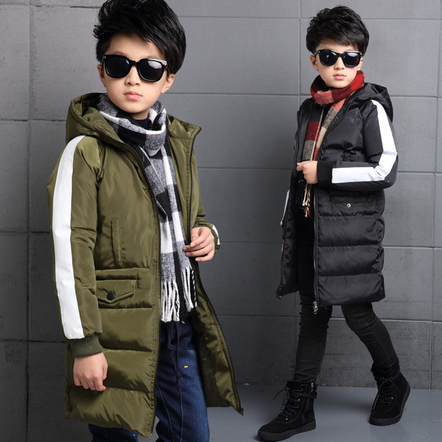 2017 Children Parkas Coat for Boys Winter Warm Clothing Solid Cotton Jacket Thick Infant Hooded Clothes Student Outerwear 5-15T