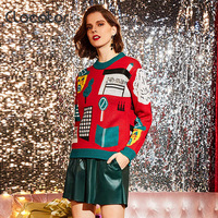 Clocolor Christmas Warm Sweater Long Sleeve Round Neck Slim Cartoon Fashion Jacquard Weave Pullover Sweater Winter