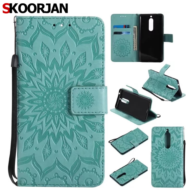 Fashion Sunflower 3D Embossed Pattern <font><b>Case</b></font> For <font><b>Nokia</b></font> <font><b>5</b></font> Fundas Leather+Soft Silicon Wallet Cover For Coque Nokia5 <font><b>Phone</b></font> <font><b>Cases</b></font>