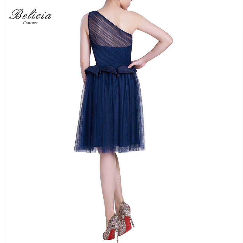 a1e09c050d Belicia Couture Navy Blue Cocktail Dresses Design One Shoulder Sexy ...