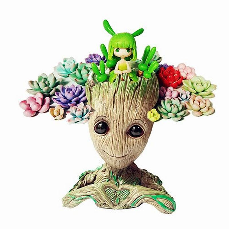 Third Generation Love Shapes Guardians of The Galaxy Flowerpot Baby Action Figures Cute Model Toy Pencil Holder Best Gift