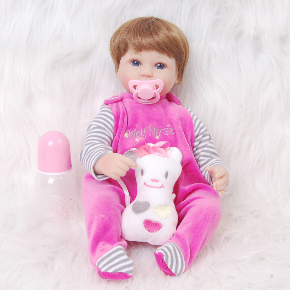 Soft Silicone Cloth Body Reborn Baby Doll with Wig Lifelike 17'' Educational Newborn Baby Stuffed Dolls Free Pacifier Gifts Toy стоимость