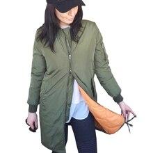 Winter Fashion long jackets and coats 2017 female Padded coat casual long Army Green bomber jacket jaqueta feminina plus size