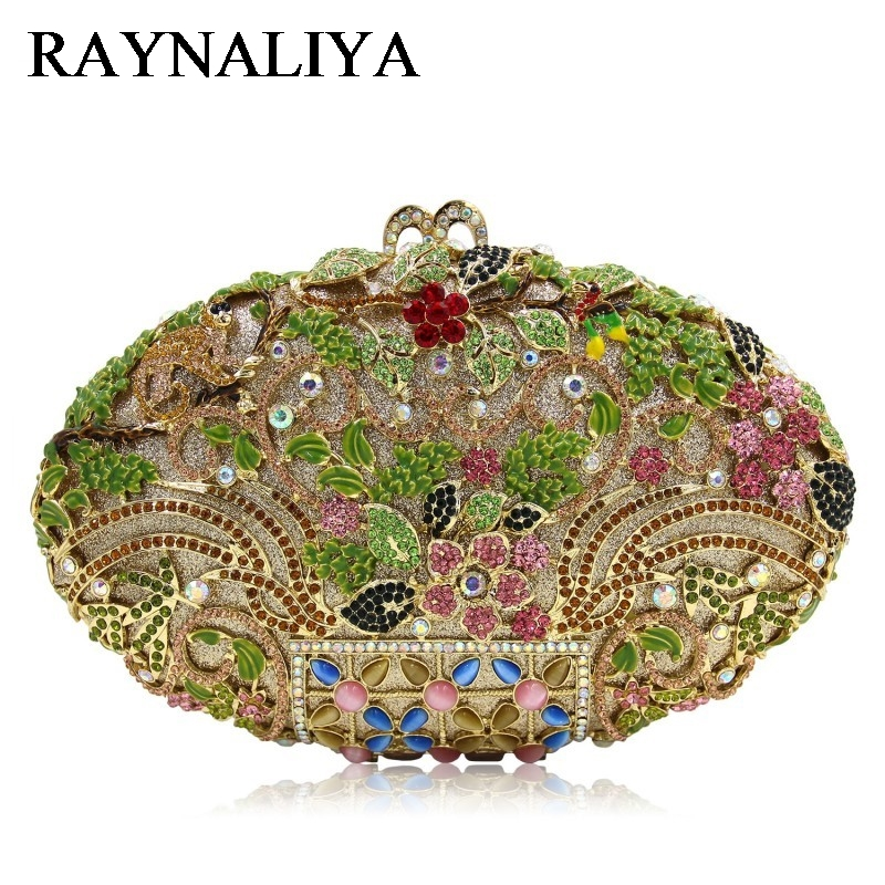 Luxury Crystal Clutch Evening Bag Gold Flower Party Purse Women Wedding Bridal Handbag Pouch Soiree Pochette Bag ZH-A0335 yu19 1 crystal evening bag clutch peacock diamond pochette soiree women evening handbag wedding party purse clutch bag