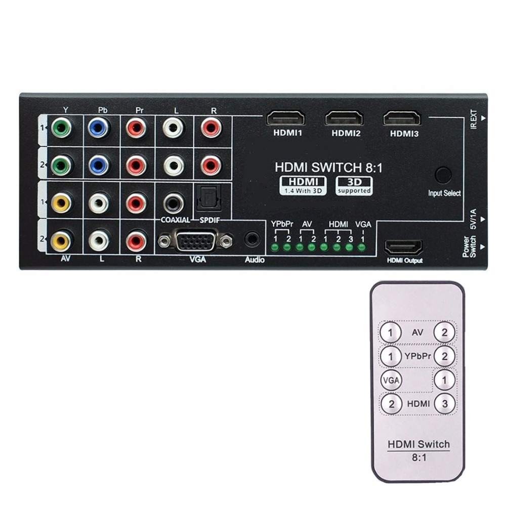 8-inputs to 1-output Multi-function Video Audio Adapter Switch / Multi-Format Switcher with Remote Controller YPBPR AV VGA vs0202 2x2 matrix video switcher function audio