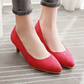 South Korea's casual style sexy pointed toe nubuck pumps comfortable slip green beige yellow black red pink med with women shoes