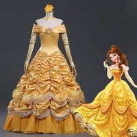 Anime Beauty and the Beast Adult Costumes Luxurious Princess Belle Dress Cosplay