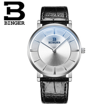 Binger Men Leather Strap Minimalist Creative Classic Luxury Brand Casual wristwatches relogio Waterproof Quartz Wrist watch